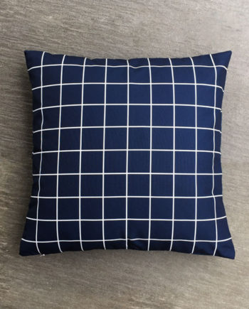 Blue Checker Grid Pillow Cover