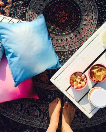 Blue Ombre Pillow, Purple Ombre Pillow, White Grid Pillow